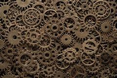De wielen van het messingsradertje, steampunk achtergrond royalty-vrije stock foto