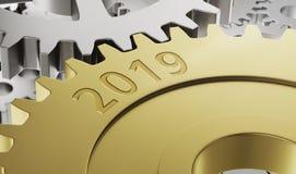 De wielen van het metaaltoestel met de 3d gravure 2019 - geef terug stock afbeeldingen
