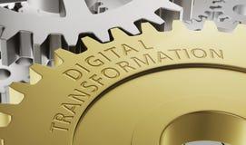 De wielen van het metaaltoestel met de gravure Digitale Transformatie vector illustratie