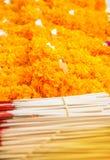 De wierook, de kaars en de goudsbloem voor verering het beeld van Boedha Stock Foto