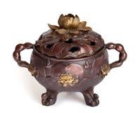De wierookbrander van het brons met lotusbloem Stock Fotografie