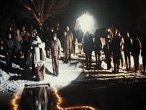 De wijding van de doopdoopvontnacht het Christelijke feest van Epiphany in het Kaluga-gebied van Rusland stock videobeelden