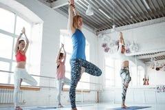 De wijfjes die samen yoga traning stelt in witte gymnastiek stock afbeelding