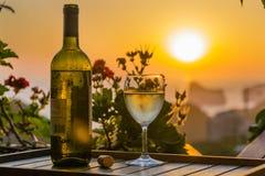 De wijn in de zonsondergang Stock Fotografie