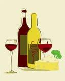 De wijn en de kaas van WineRed Royalty-vrije Stock Afbeeldingen