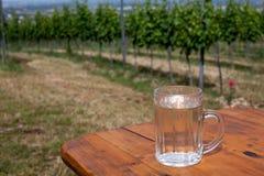 De wijn en de soda spritzer drinken verfrissing Glas witte wijn op houten lijst aangaande achtergronden van Wijngaarden in Heurig stock fotografie