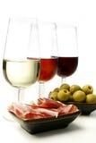 De wijn en tapas van de sherry Stock Foto