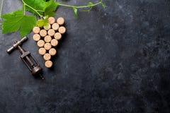 De wijn kurkt druivenvorm en wijnstok royalty-vrije stock foto's