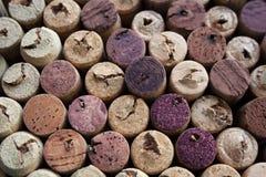 De wijn kurkt geweven palet stock afbeeldingen