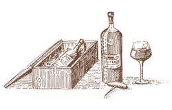 De wijn in pakket, doos voor gift graveerde illustratiehand in oude stijl wordt getrokken die royalty-vrije illustratie