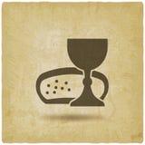 De wijn van het Heilige Communiesymbool en brood uitstekende achtergrond vector illustratie