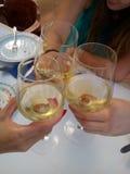 De wijn van toostglazen Royalty-vrije Stock Afbeeldingen