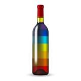 De Wijnfles van het kleurenglas Royalty-vrije Stock Fotografie