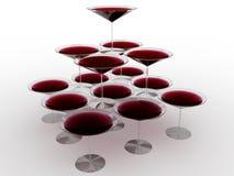 De wijnglas van het glas met gekleurde vloeibare â11 stock illustratie