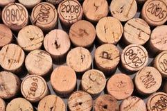 De wijnkurken hierboven worden gezien die van royalty-vrije stock afbeelding