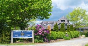 De Wijnmakerij en het Restaurant van Chateaumorrisette - Blauw Ridge Parkway, Virginia, de V.S. Stock Afbeeldingen