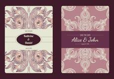 De wijnoogst bewaart de datum of huwelijksinzameling van de uitnodigingskaart Vector romantisch kaartmalplaatje royalty-vrije stock afbeeldingen