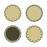 De wijnoogst, de bevorderingen of de kwaliteiten van de cirkelsticker Royalty-vrije Stock Afbeeldingen