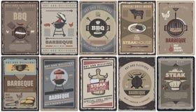 De wijnoogst Gekleurde Inzameling van Barbecuebrochures vector illustratie