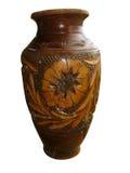 De wijnoogst ornated bruine decoratieve kleivaas Royalty-vrije Stock Afbeeldingen