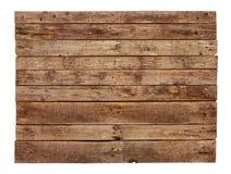 De wijnoogst planked houten die tekenraad op wit wordt geïsoleerd Stock Afbeelding