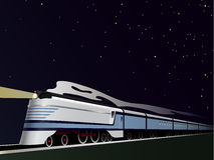 De wijnoogst stroomlijnde Trein Vectorillustratie Stock Foto