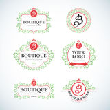 De Wijnoogst van de boutiqueluxe, geplaatste de malplaatjes van het Kammenembleem Bedrijfsteken, identiteit voor Restaurant en Bo stock illustratie
