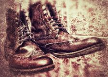 de wijnoogst van het schoenenontwerp Stock Foto's
