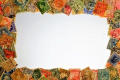De wijnoogst van de zegelfilatelie, kaderachtergrond Filatelie die en postzegels, geschiedenis en ontwikkeling van post verzamele royalty-vrije stock afbeelding
