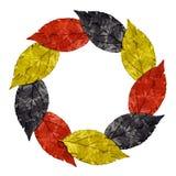 De wijnoogst verlaat kader met kleuren van de nationale vlag van Duitsland Stock Fotografie