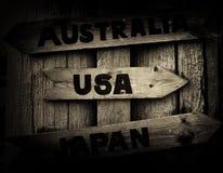 De wijzer van Noorwegen aan het vignet van de V.S., van Japan en van Australië Stock Afbeeldingen