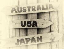 De wijzer van Noorwegen aan het vignet van de V.S., van Japan en van Australië Stock Foto