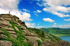 De wilde aard - berg en meer Royalty-vrije Stock Foto