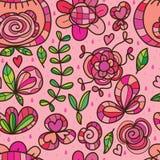 De wilde bloem isoleerde roze regen naadloos patroon Royalty-vrije Stock Afbeelding