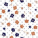 De wilde bloemen in velen kleurt naadloos patroon met zwarte polka stock illustratie