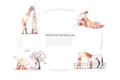 De wilde dieren redden - mensen die giraf, paard, kangoeroe, reeks van het schildpad de vectorconcept behandelen vector illustratie