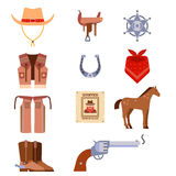 De wilde het westenelementen plaatsen de rodeomateriaal van de pictogrammencowboy en verschillende toebehoren vectorillustratie Stock Afbeeldingen