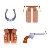 De wilde het westenelementen plaatsen de rodeomateriaal van de pictogrammencowboy en verschillende toebehoren vectorillustratie Royalty-vrije Stock Fotografie
