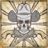 De wilde het westenwijnoogst grunge verzinnebeeldt met revolvers en schedel, beeldverhaal vectorillustratie Stock Afbeeldingen