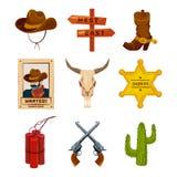De wilde pictogrammen van de het westeninzameling Westelijke illustraties bij beeldverhaalstijl Laarzen, kanonnen, cactus en sche royalty-vrije illustratie
