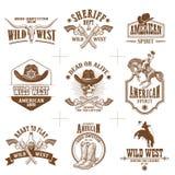 De wilde vectorinzameling van het westenemblemen royalty-vrije illustratie