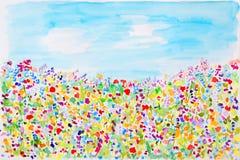De wilde waterverf van de zomerbloemen Stock Afbeeldingen