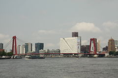 De Willemsbrug. In Rotterdam seen from the maasboulevard. On the background you can see a part of the skyline, I took this picture in July 2014 Royalty Free Stock Photos