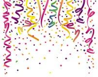 De wimpels van de partij met confettien vector illustratie