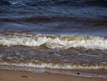 De wind drijft de golven op de zandige kust van de rivier Stock Foto's