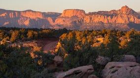 De winden van de mesaweg van Smith door jeneverbessenbomen en slickrock met de bergen van Zion National-park op de achtergrond bi stock fotografie