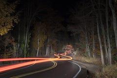 De Windende Weg van Wisconsin van de deurprovincie bij Nacht stock foto