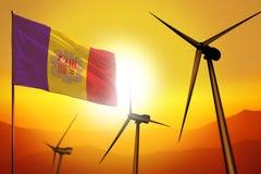 De windenergie van Andorra, het concept van het alternatieve energiemilieu met windturbines en vlag op zonsondergang industriële  royalty-vrije illustratie