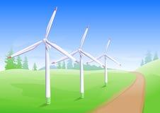 De windenergieindustrie De generator van de windmolenenergie Stock Afbeeldingen