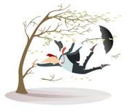 De winderige dag en de mens met een hoed en een paraplu vangen een geïsoleerde boom stock illustratie